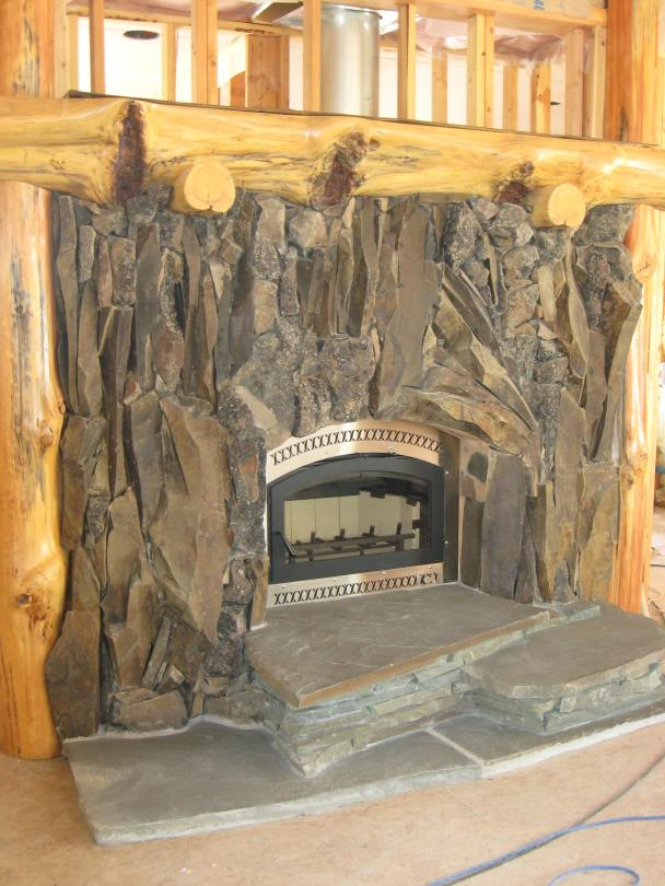 basalt fireplace and sandstone hearth