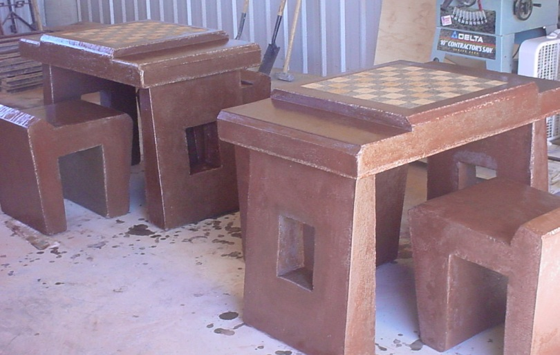 custom concrete chess tables