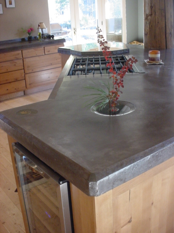 concrete countertop with polished basalt