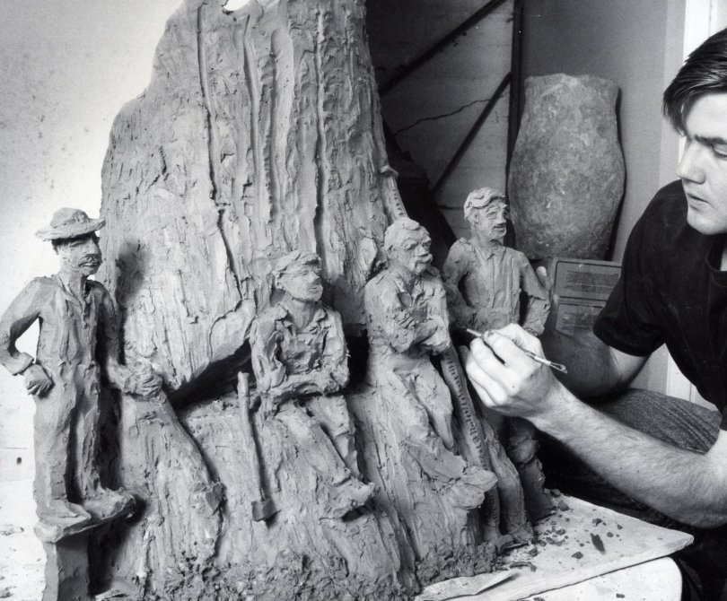 loggers ceramic sculpture
