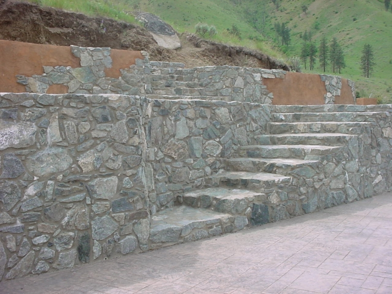 stone and stucco walls and stairs