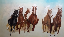 First layer of horse painting nearly finished, to establish horse colors.